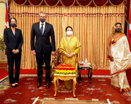 Envoys from Germany, France, Norway and Egypt present their credentials to President Bhandari