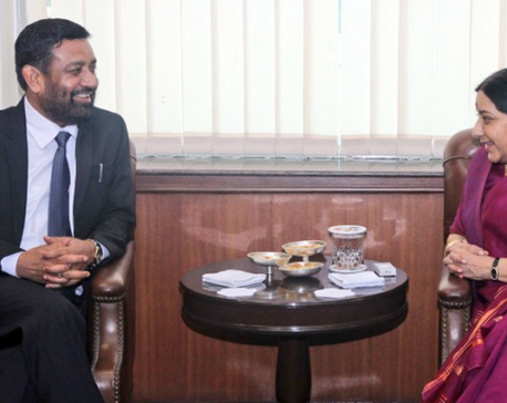 DPM  Nidhi calls on Indian External Affairs Minister Swaraj