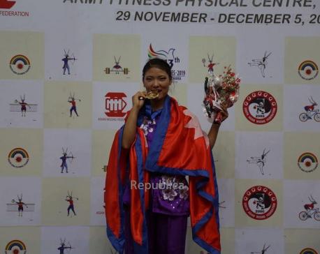 Nima Gharti Magar clinches gold in wushu