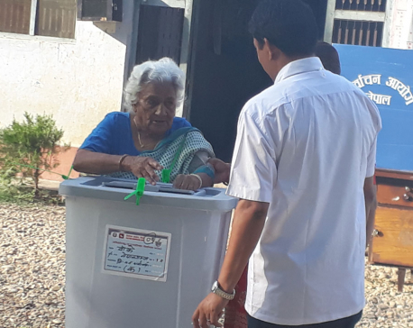 108-year-old Obi Kumari Panthi casts her vote in Banke