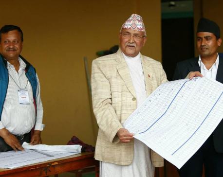 UML Chair Oli casts vote in Balkot