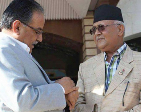 Oli, Dahal meet at Baluwatar