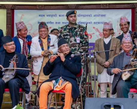PM Oli and two former PMs play flute and sarangi at Baluwatar
