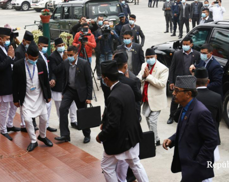 PM Oli walks out of federal parliament building without attending meeting
