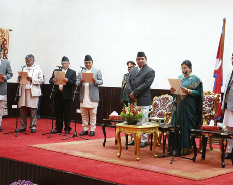 PM Oli inducts four ministers (With photos)