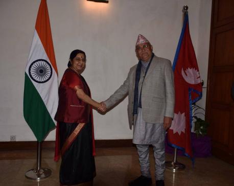 Swaraj, Oli hold one-on-one meeting