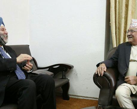 Indian Envoy Puri pays courtesy call to Oli