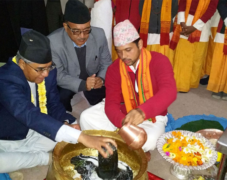 PM Deuba performs pooja at Bindyabasini Temple in Pokhara
