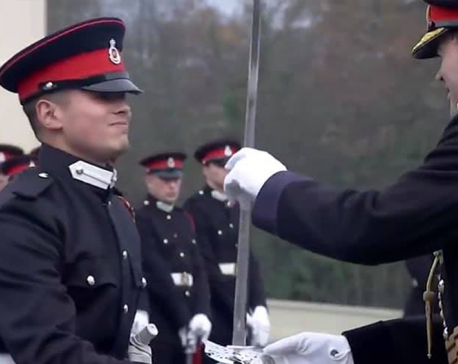 Nepal Army officer cadet awarded with prestigious 'Int'l Sword of Honor' in UK (With video)