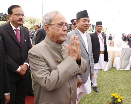 Indian President Mukherjee attends reception at Indian Embassy
