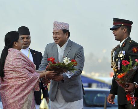 President Bhandari leaves for UAE (Photo feature)