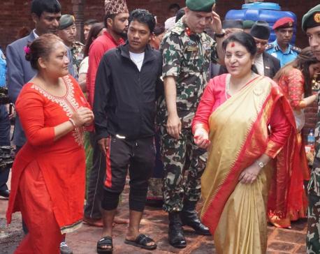 President visits Palanchok Bhagawati temple