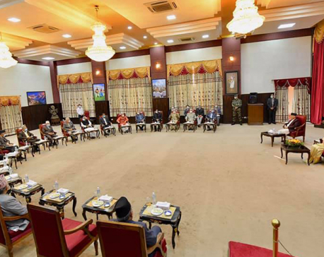 President Bhandari briefs top leaders of major political parties about her visit to Bangladesh