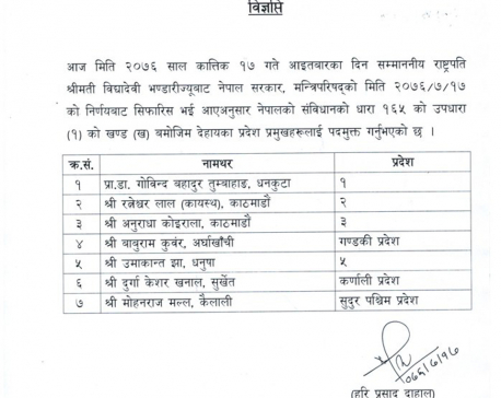 President Bhandari sacks all 7 governors