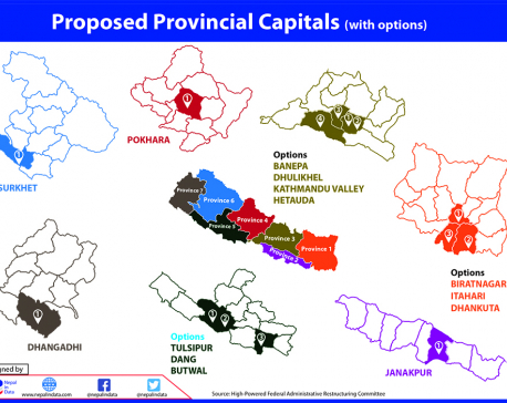 Places proposed for temporary capitals of all seven provinces
