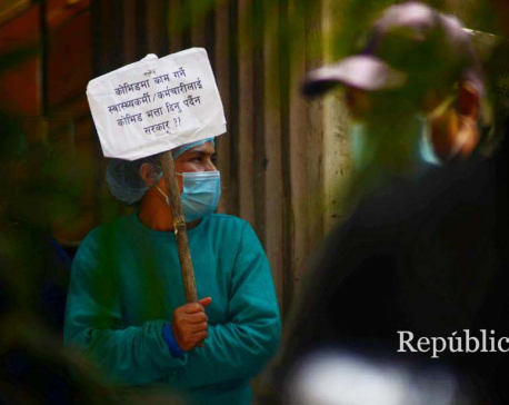 PHOTOS: Bir Hospital staffers continue their protest, demand incentives and safety gears