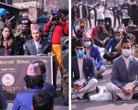 Independent youths organize a session of mock parliament against House dissolution (with photos)