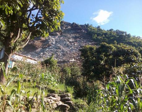 Landslide buries 7 houses in Ganga Jamuna of Dhading