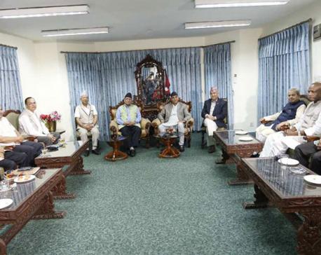 PM Deuba holding meeting with RJPN at Singha Durbar