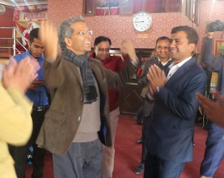 Rabindra Mishra dances for  votes