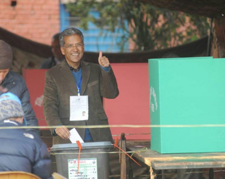 Rabindra Mishra Cast his vote in Ratnajyoti polling center
