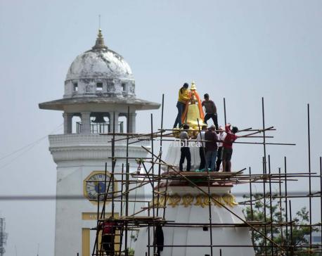 Photos: Pinnacle installed at top of Bal Gopaleshwar Temple at Ranipokhari
