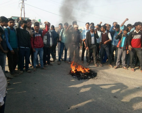 UDMF cadres start protest in Madhes districts from early morning