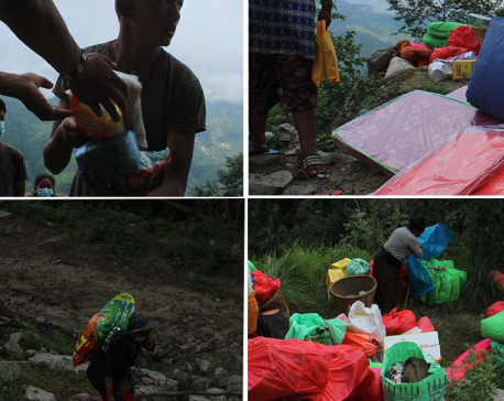 Local youths in collaboration with Hyolmo Society of America distribute first round of relief in lower Helambu