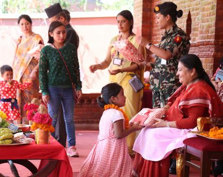 President gifts gunyo-cholo to Balmandir girls