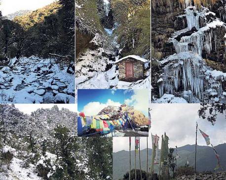 Experiencing snow in Nepal