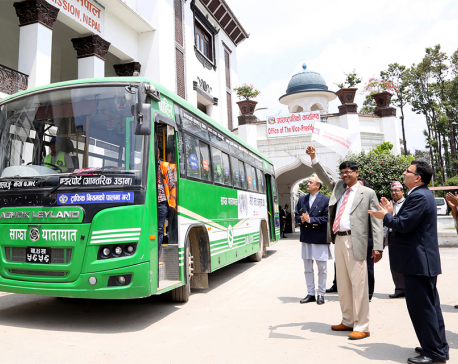 Sajha buses carrying messages of importance of civic vote in election