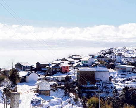 Snowfall in Okhaldunga affects normal life