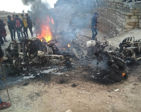 Solu Corridor-affected locals stage demonstration demanding electricity; 11 bikes torched
