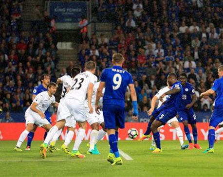 Leicester beats Swansea 2-1 for 1st win of title defense