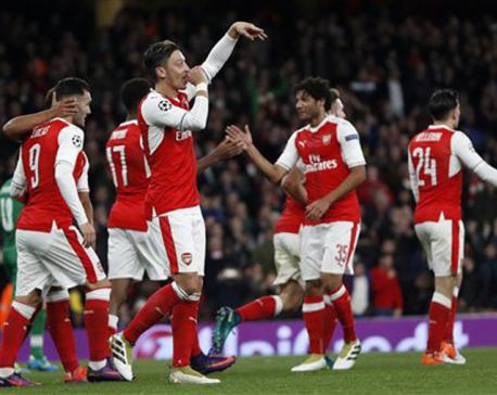 Ozil hat trick as Arsenal thrashes Ludogorets 6-0