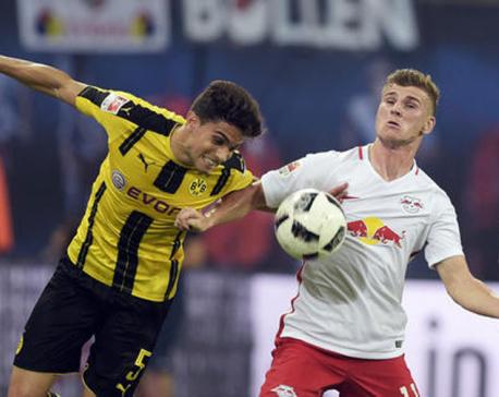 Leipzig stuns Borussia Dortmund to win 1st Bundesliga game