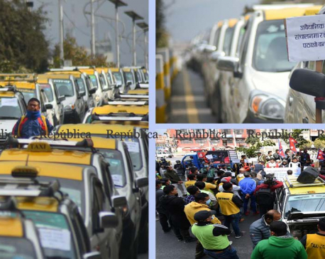 PHOTOS: Taxi entrepreneurs stage protest in capital, putting forward various demands