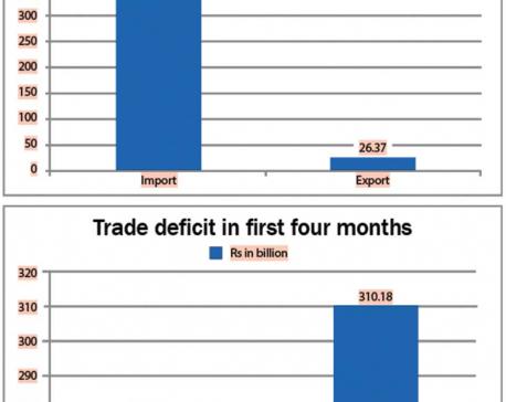 Trade deficit jumps 12 percent in 1st quadrimester