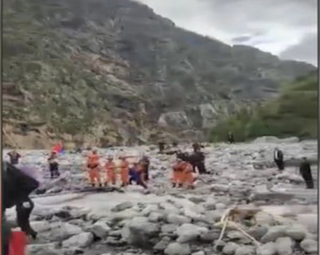 Fear of flash flood downstream as massive landslide blocks Tamakoshi River on the Chinese side of the border