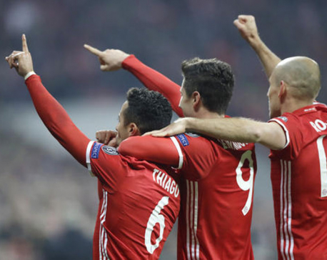 Bayern Munich routs Arsenal to put foot in quarterfinals