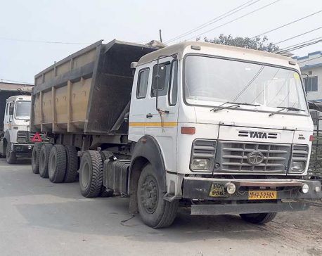 Overloaded carriers using decrepit bridge, four tippers seized
