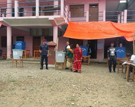 101-year-old Tulasa Devi Aryal casts her vote in Gulmi