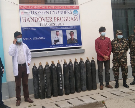 18-year-old Sapkota provides oxygen cylinders to hospital in Jumla