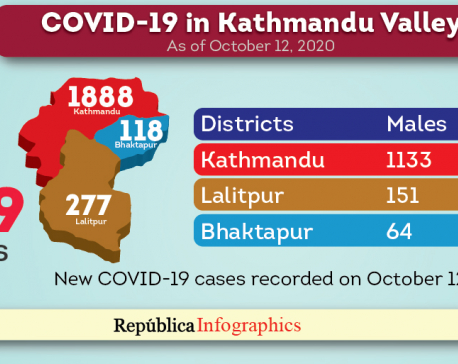 Kathmandu Valley's COVID-19 case tally rises to 43,869 with 2,283 new cases in the past 24 hours