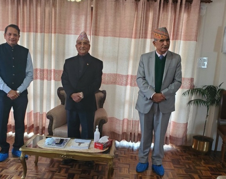 India's ruling BJP leader Vijay Chauthaiwale meets PM Oli