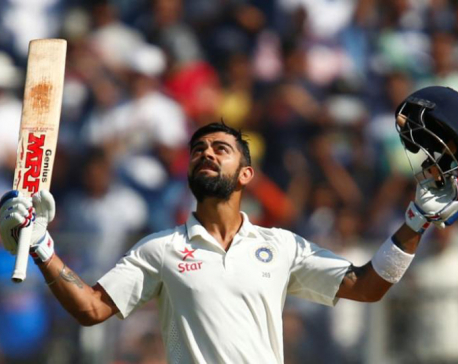 Kohli ton stretches India lead in Kolkata pink-ball test