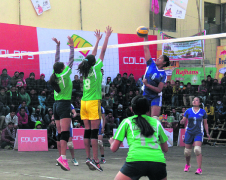 Reed Model climbs on top of Dhorpatan volleyball