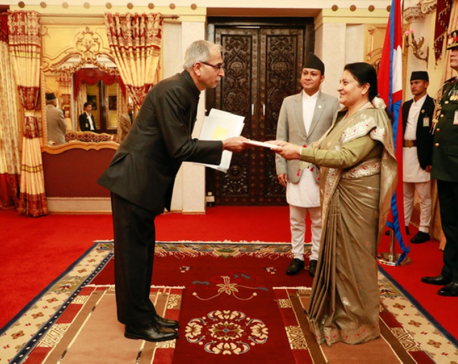 Newly appointed Indian Ambassador presents credentials to President Bhandari