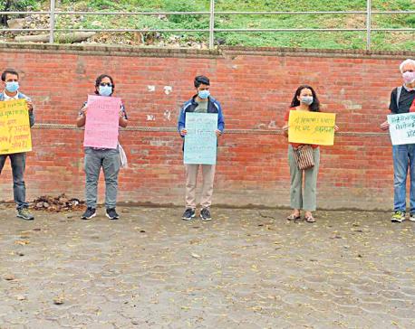 Demonstration against dissolution of parliament in Kirtipur