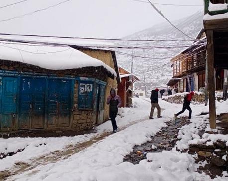 Snowfall in Humla welcomed by farmers